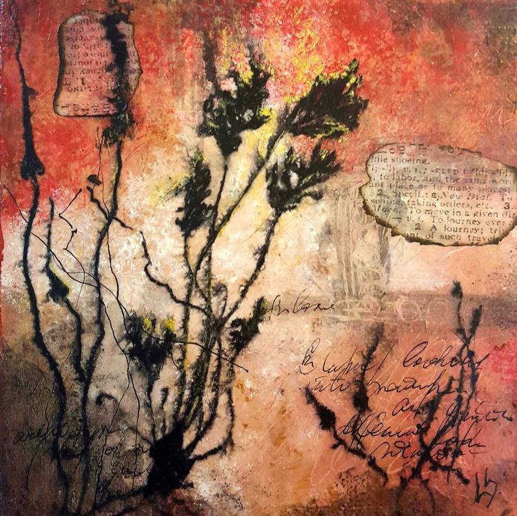 small red botanic painting - Image 0