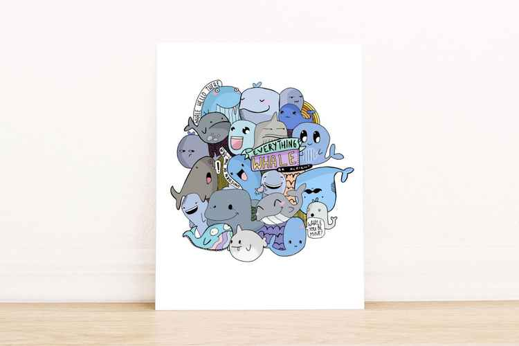 Everything Whale Be Alright A4 Print -