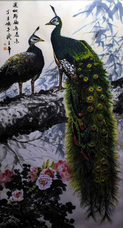 Chinese watercolour peacock paining-34