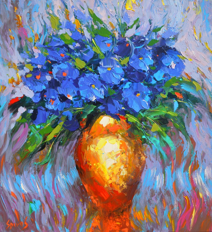 Flowers in yellow vase - ORIGINAL OIL acr. PALETTE KNIFE PAINTING, SIZE: 53CM X 68CM - Image 0