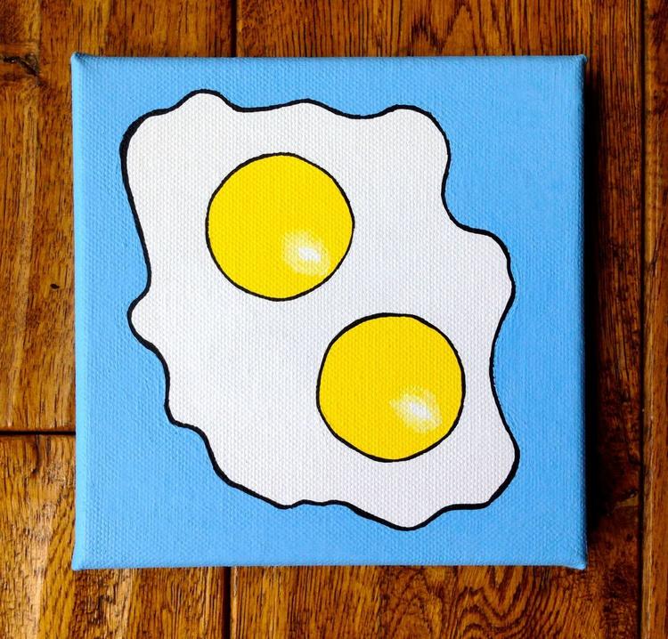 Fried Egg Double Yolk Pop Art Canvas Painting - Image 0