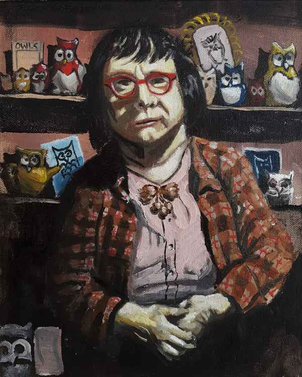 Old lady with her owl collection