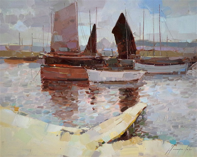 Sailboats, Seascape Original oil painting, Handmade artwork, One of a kind Signed with Certificate of Authenticity - Image 0