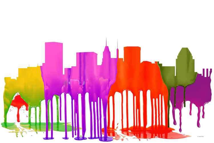 Baltimore, Maryland Skyline - Puddles -