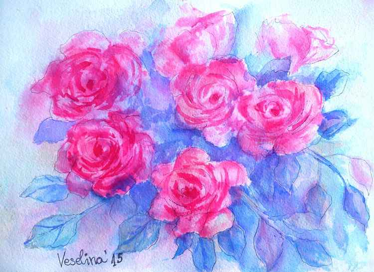 Watercolor magenta roses -