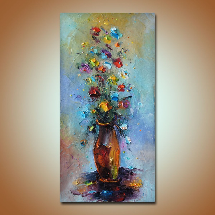 Summer glow, Original flower painting, Oil on canvas, Free shipping - Image 0
