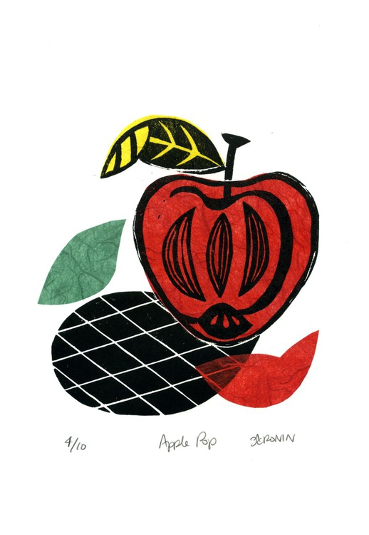 Apple Pop Linocut Print & Chine-collé 4 of 10 (apple design 2) - Image 0
