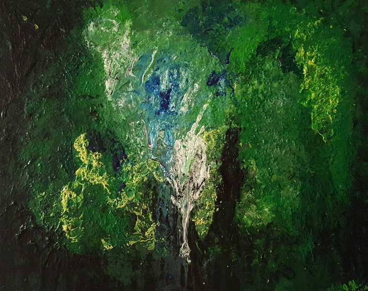 Enchanted forest - abstract landscape on stretched canvas, ready to hang, unique frothing technique 50x40cm - Image 0