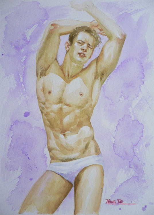 original watercolour painting  angel of nude male  on paper#16-10-6-03 - Image 0