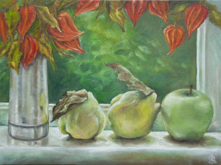 At My Window (30x40 cm) original oil painting still life canvas realistic style impressionistic gift home decor - Image 0