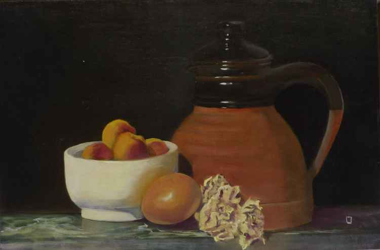 rustic jug with apricots and dried flowers -