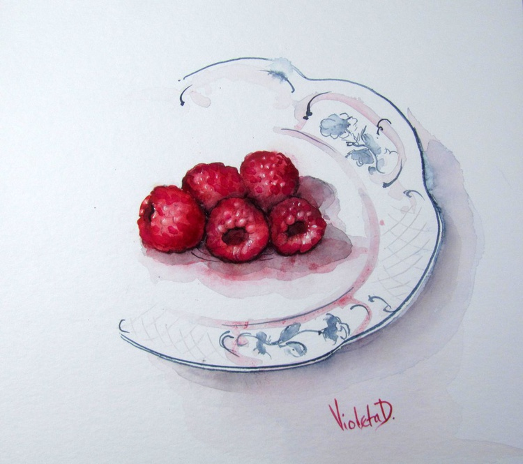 Raspberries on a Villeroy and Boch Cake Plate - Image 0