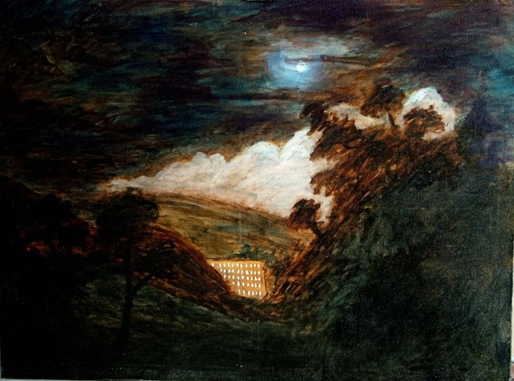 Cotten Mills by Moonlight (Oil on canvas 40x30 inch) - Image 0