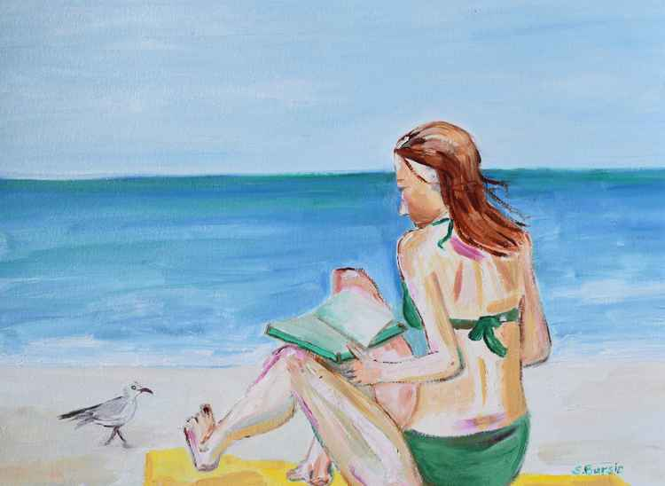 Lady at Beach Reading