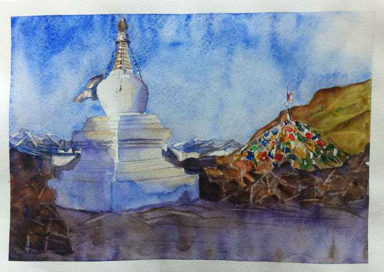 Buddhist Stupa near the Namtso Lake -