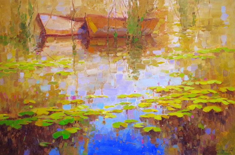 Water lilies - Pond, Original oil Painting, Impressionism, Handmade artwork, Large Size Painting, One of a Kind - Image 0