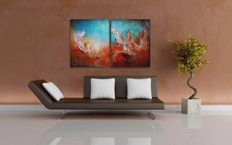 "Abstract seascape original diptych turquoise gold ""Ocean  allure"" - Image 0"