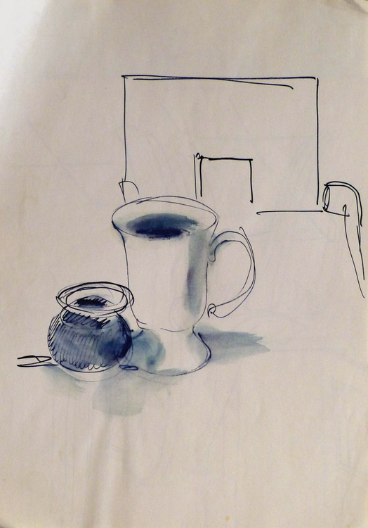 Still Life: Coffee cup and sugar bowl, 21x29 cm - Image 0