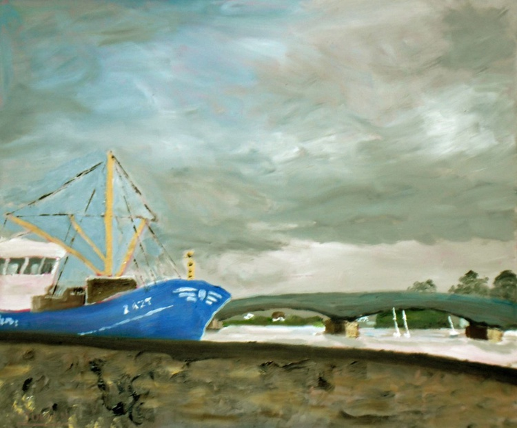 "Blue Fishing Trawler - An original Oil painting on board - 12"" x 10"" Lovely Gift - Image 0"