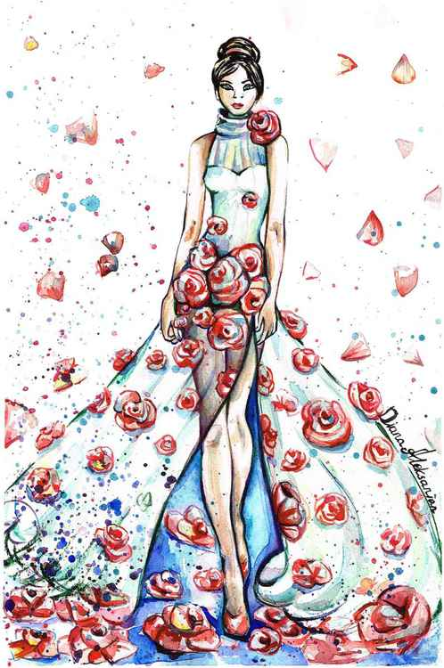 Lady in Dress of Roses -