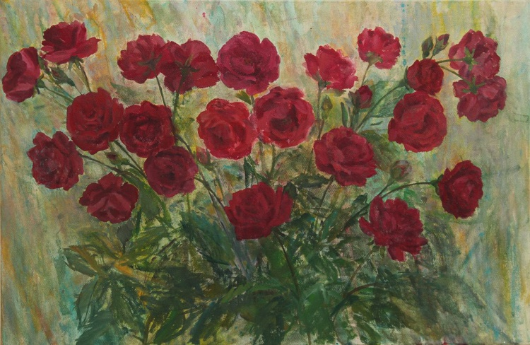 Roses in Flowering 2014, acrylic on canvas, 40 x 60 cm - Image 0