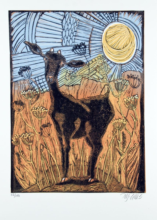 Goat and Anis, linocut - Image 0
