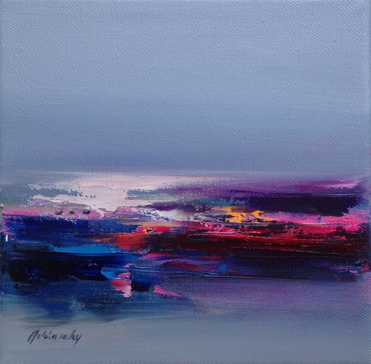 Waking - 20 x 20 cm, abstract landscape oil painting in blue and purple - Image 0
