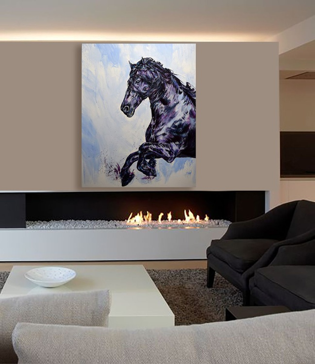 Libre et fier / Friesian Original Horse painting Large 102 cm x 81 cm / Modern Equine Contemporary Wall Art by Anna Sidi - Image 0