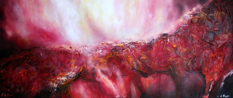 Golden Path - large, original 140cm x 60cm  abstract painting on gallery frame - Image 0
