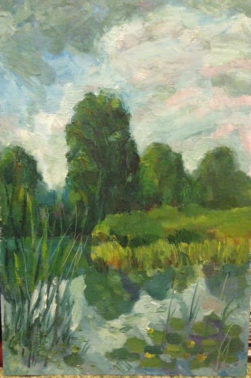 Summer time. River. Bank. Trees. Lily. Water. Landscape - Image 0