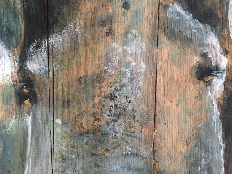 """""""Two of a Kind"""" Elephants on 100+ Year Old Barn Wood - Image 0"""