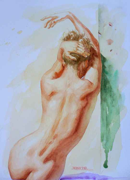original art watercolour painting naked girl on paper #16-5-11-07 -