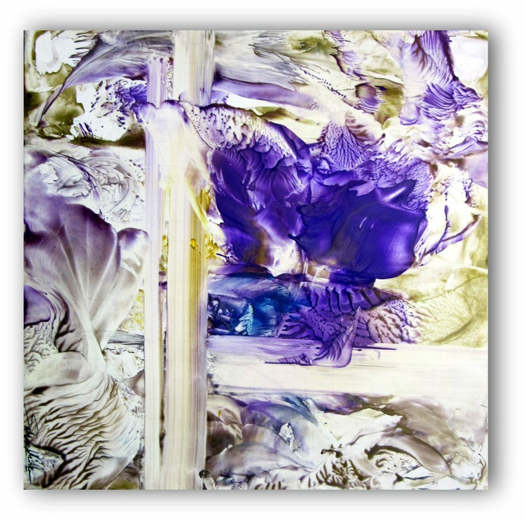 12x12in lavender abstract floral encaustic on paper/canvas - Image 0