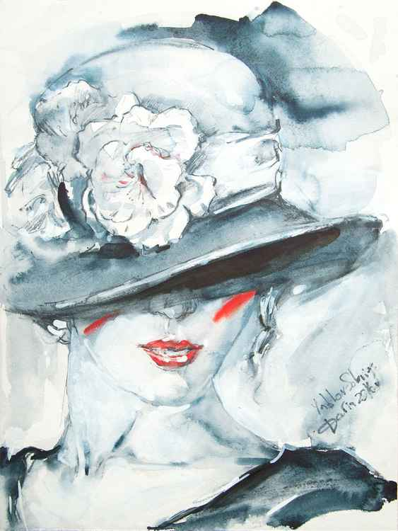 Woman in the hat with white and black flowers -