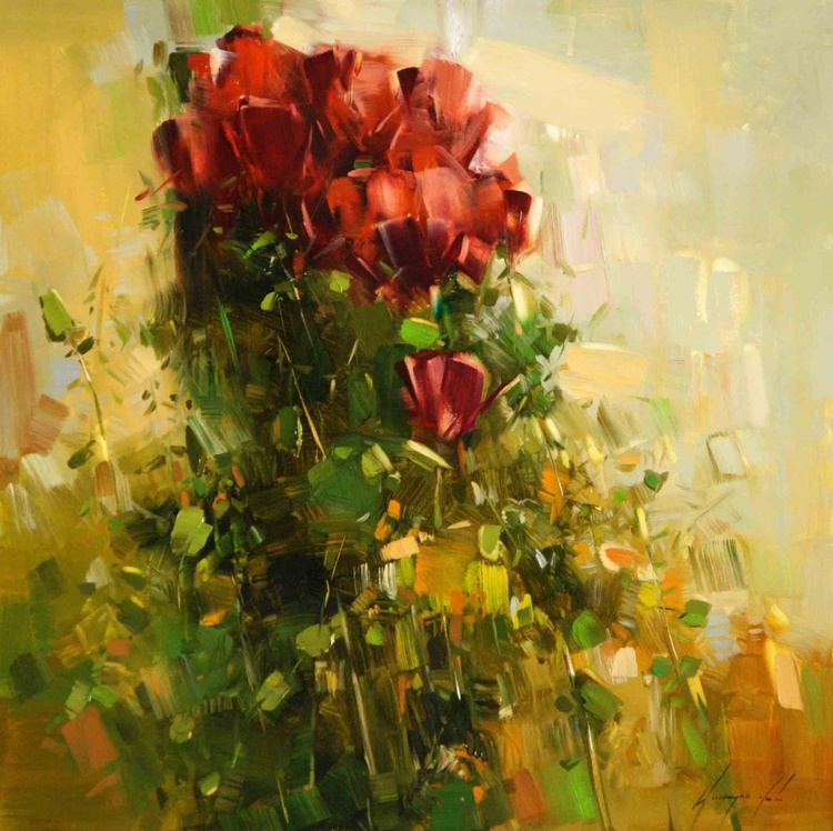 Bouquet of Roses Original oil Painting on Canvas - Image 0