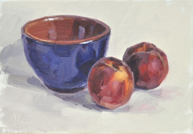 Peaches and blue bowl - Image 0