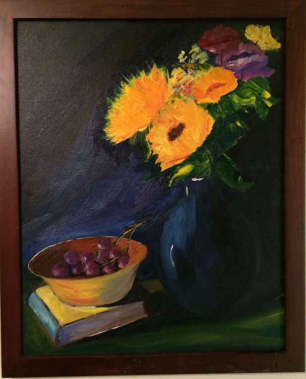 Still Life - Sunflower and Grapes -