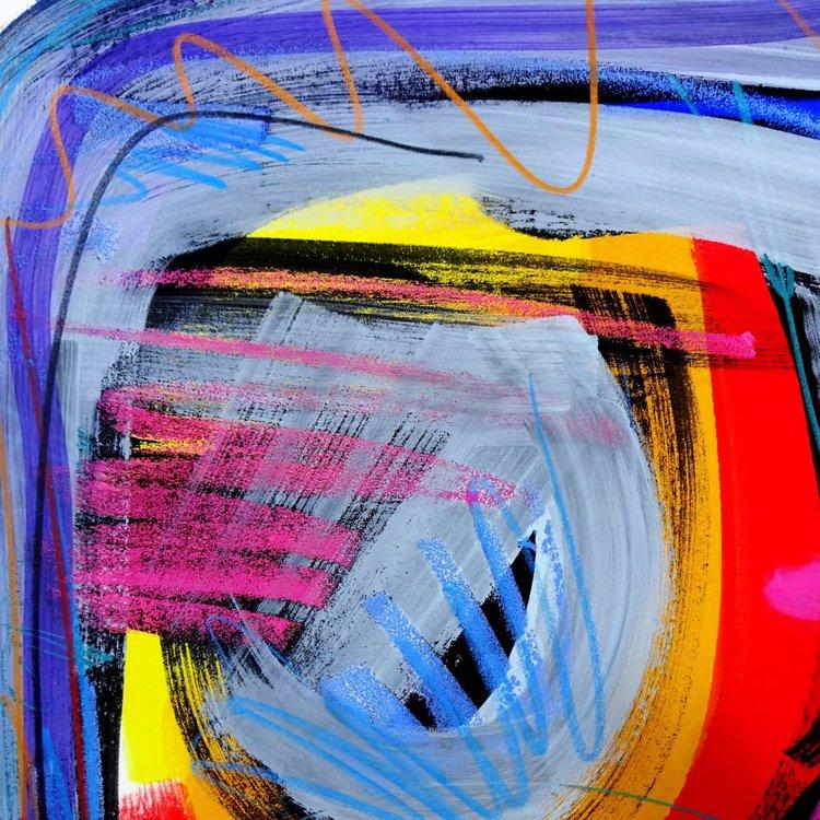 Good Evening! - abstrakte Gouache-Malerei | Artfinder
