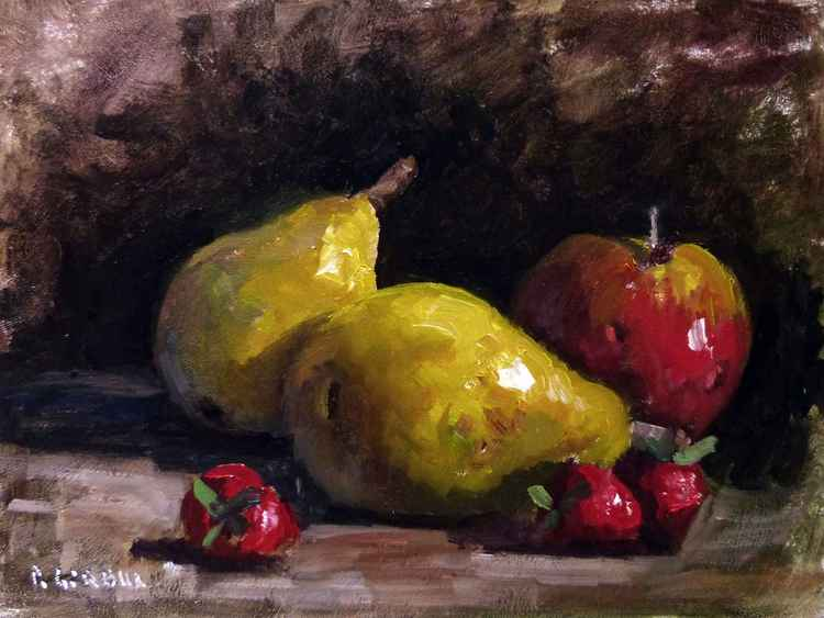 Pears, Strawberries and a Apple -