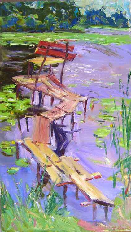 bridge, OIL PAINTING 40X70 CM -