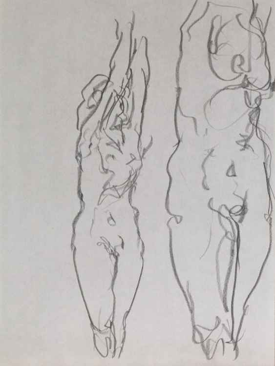 Sketch study of feminine nude - drawing on paper - small size 24X32cm