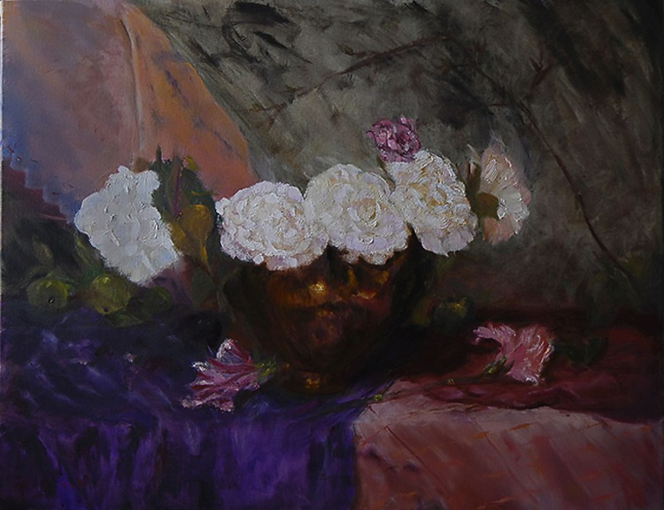 White Flowers and Glass Apples - Image 0