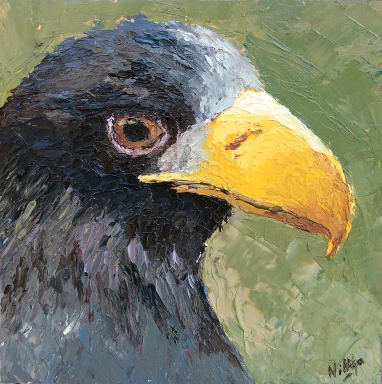 Ms.Glowing Beak - Textured Bird Portrait in Oils - Image 0