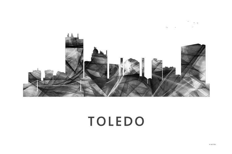 Toledo Ohio Skyline WB BW -