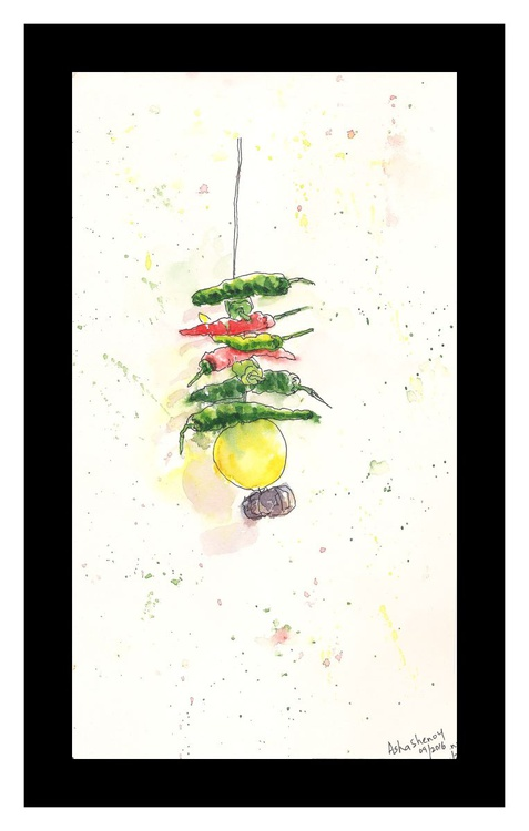 "Lemon and Chillies Charm- 6 1/8"" x 10 3/8"" - Image 0"