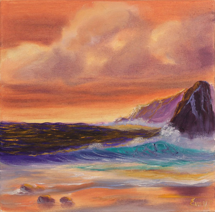 "Sunset Glow, original seascape painting on canvas, modern ocean art, sea wave painting, small oil painting 12x12"" - Image 0"