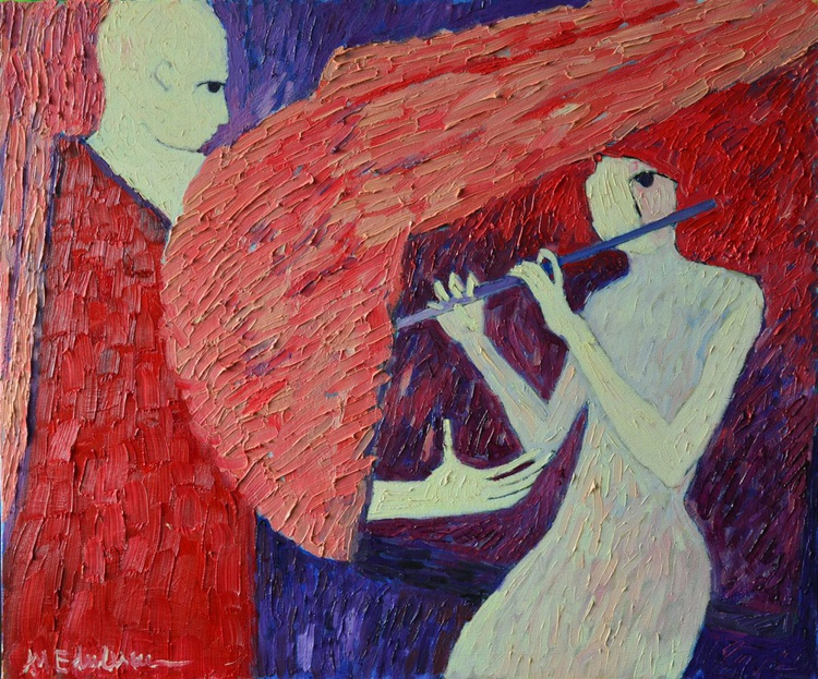 ANGELIC TOUCH  or SINGING TO MY ANGEL - conceptual contemporary oil painting on canvas - Image 0