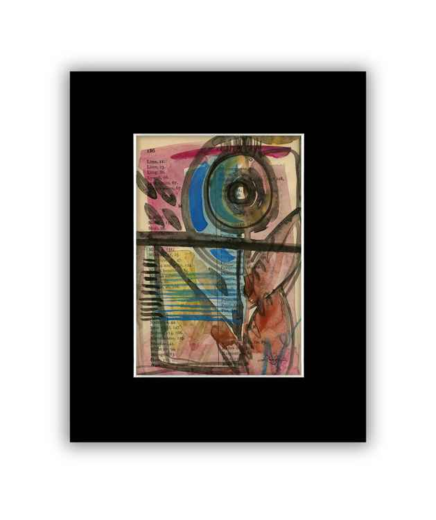 Abstract 21 on Antique Book Page - Abstract Watercolor Painting -