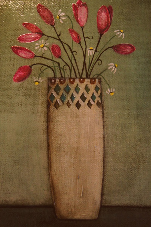 Tulips and Daisies in a Decorative Vase.., - Image 0