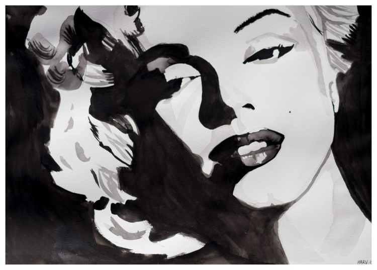 Marilyn Monroe - A portrait of an American movie star - water colour / paper / celebrity / painting / Marilyn / Monroe / beauty / beautiful - Image 0